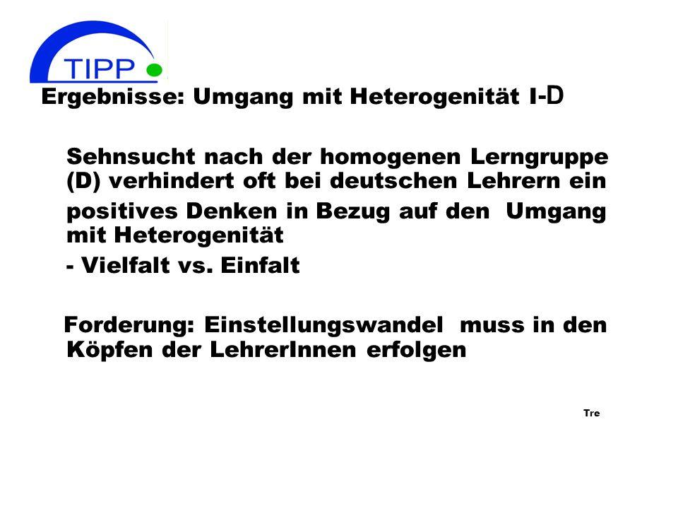 Ergebnisse: Umgang mit Heterogenität I-D