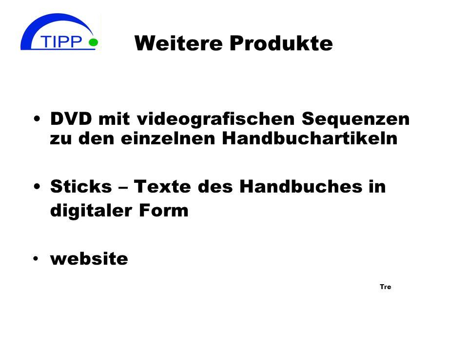 Weitere Produkte DVD mit videografischen Sequenzen zu den einzelnen Handbuchartikeln. Sticks – Texte des Handbuches in.