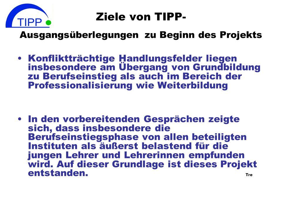 Ziele von TIPP- Ausgangsüberlegungen zu Beginn des Projekts