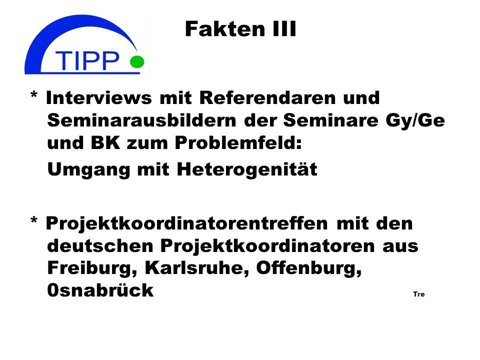 Fakten III * Interviews mit Referendaren und Seminarausbildern der Seminare Gy/Ge und BK zum Problemfeld: