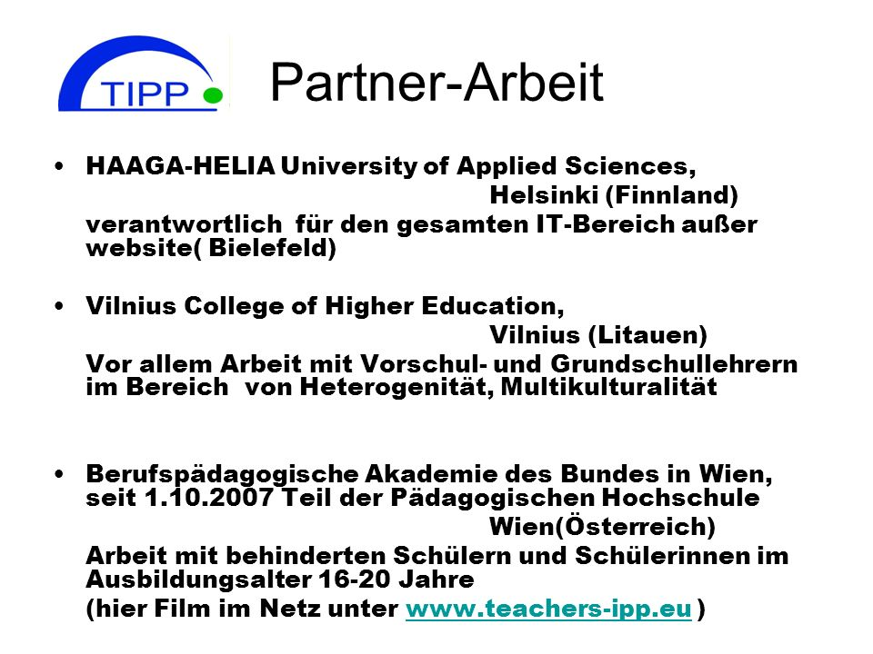 Partner-Arbeit HAAGA-HELIA University of Applied Sciences,