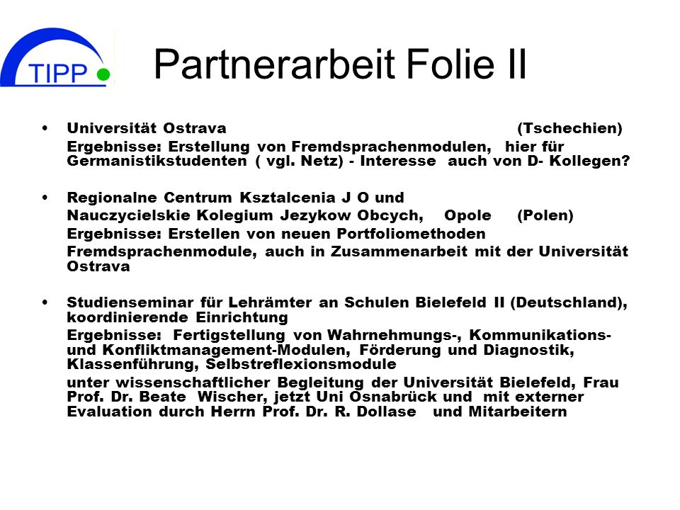 Partnerarbeit Folie II