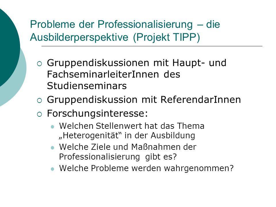 Probleme der Professionalisierung – die Ausbilderperspektive (Projekt TIPP)