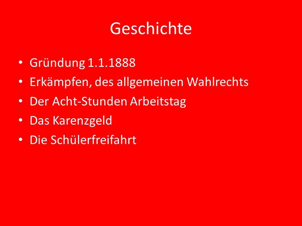 Geschichte Gründung 1.1.1888 Erkämpfen, des allgemeinen Wahlrechts