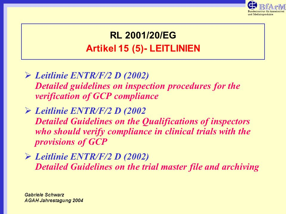 RL 2001/20/EG Artikel 15 (5)- LEITLINIEN