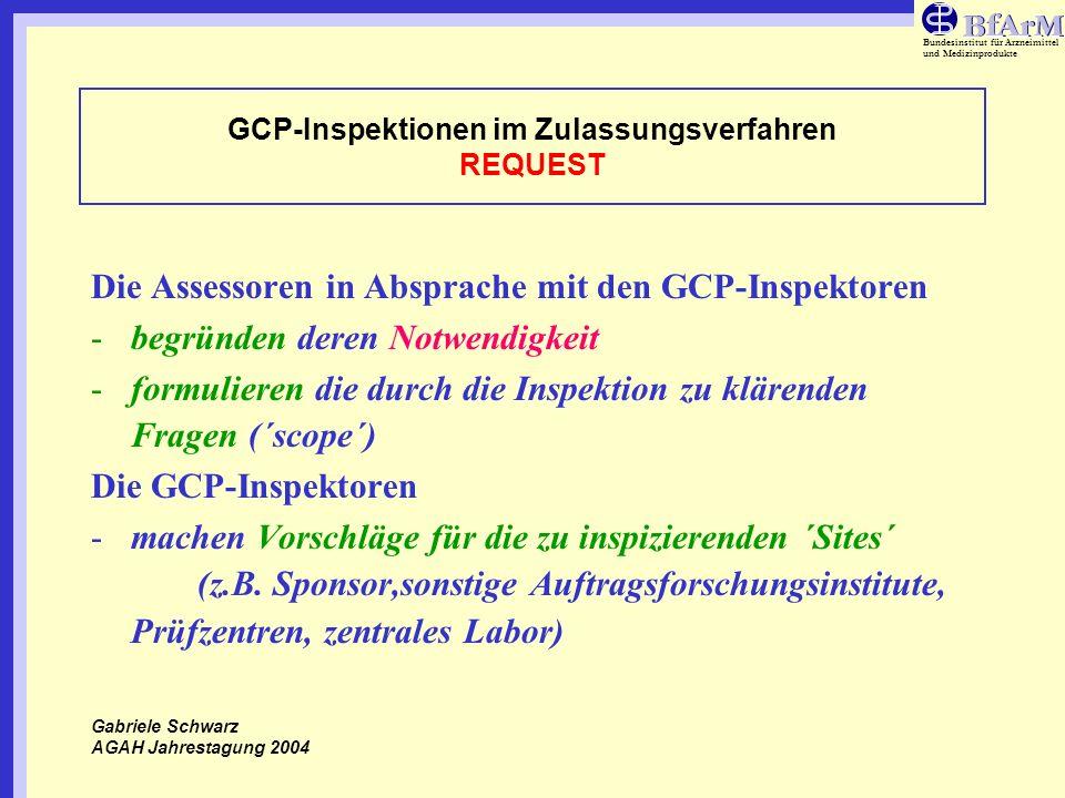 GCP-Inspektionen im Zulassungsverfahren REQUEST