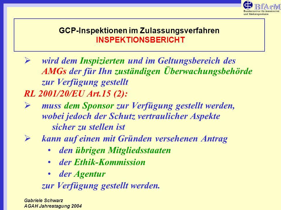 GCP-Inspektionen im Zulassungsverfahren INSPEKTIONSBERICHT