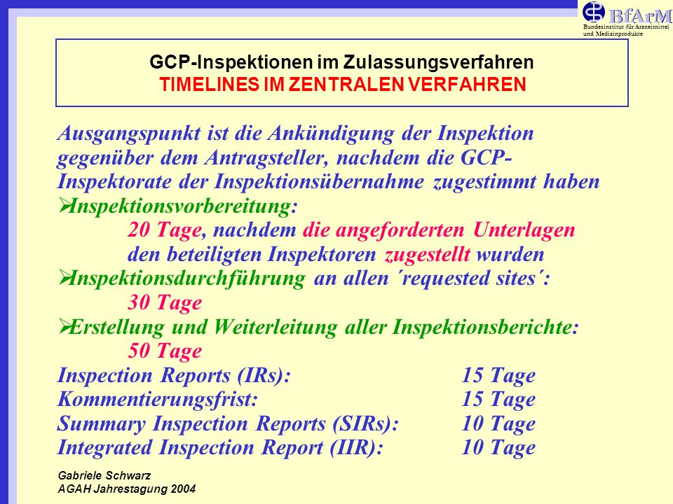 Inspektionsdurchführung an allen ´requested sites´: 30 Tage