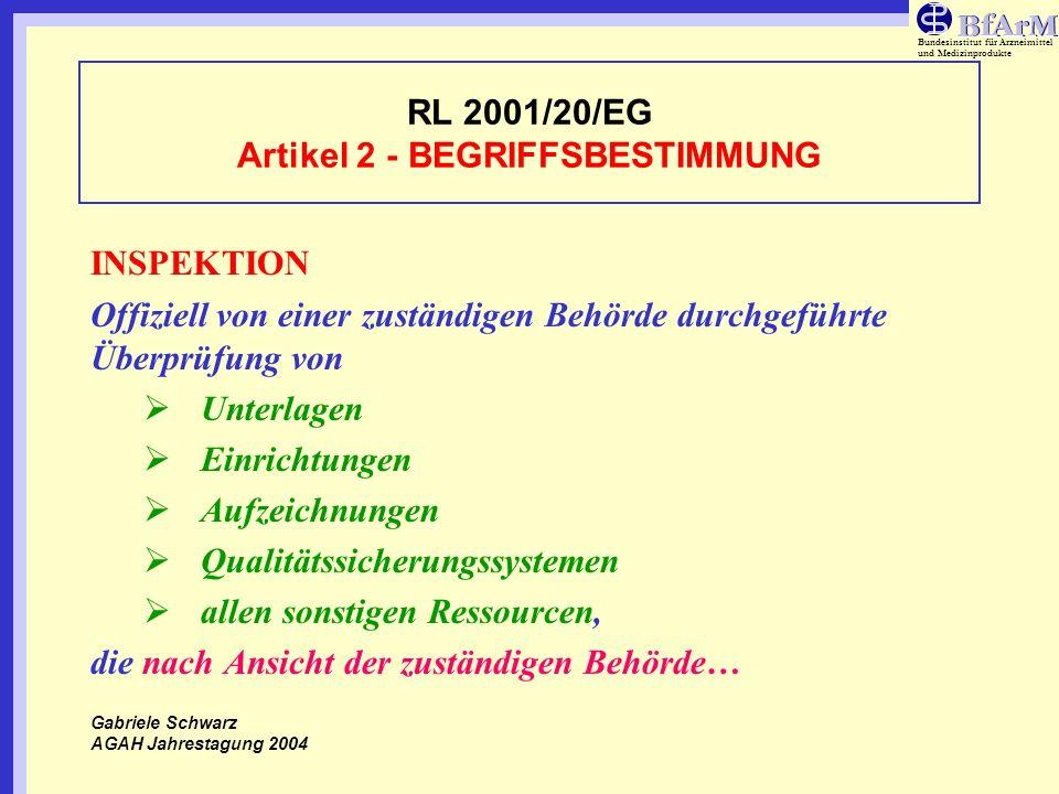 RL 2001/20/EG Artikel 2 - BEGRIFFSBESTIMMUNG