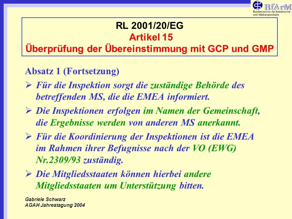 RL 2001/20/EG Artikel 15 Überprüfung der Übereinstimmung mit GCP und GMP