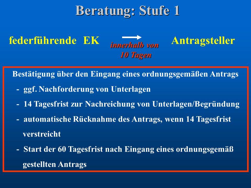 Beratung: Stufe 1 federführende EK Antragsteller innerhalb von