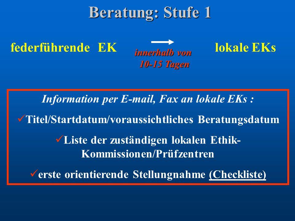 Beratung: Stufe 1 federführende EK lokale EKs