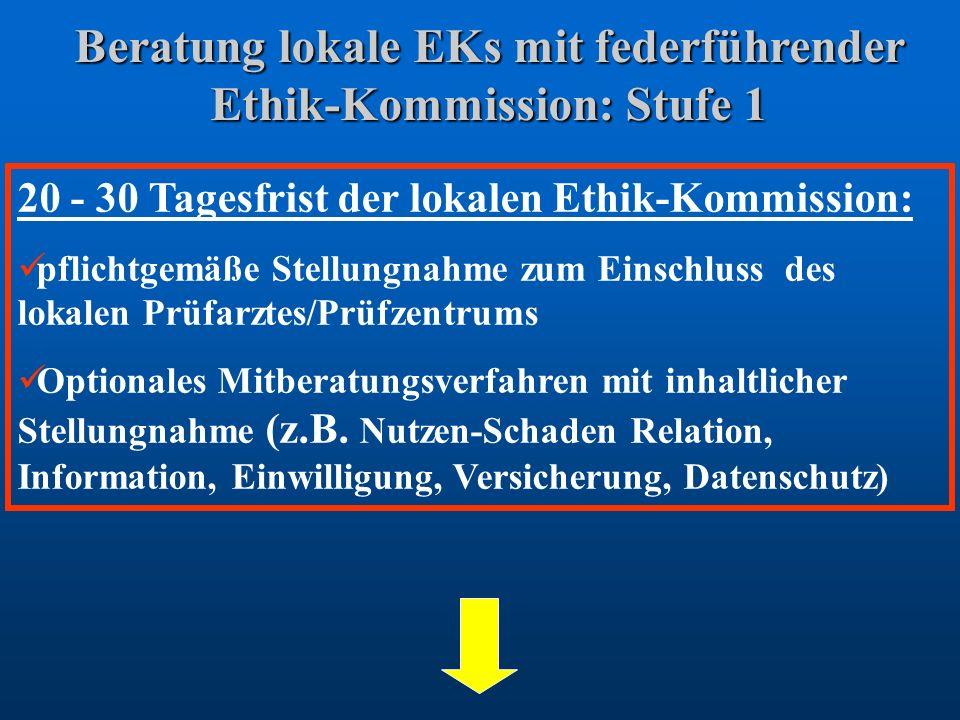 Beratung lokale EKs mit federführender Ethik-Kommission: Stufe 1