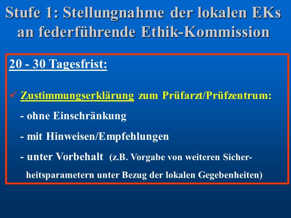 Stufe 1: Stellungnahme der lokalen EKs an federführende Ethik-Kommission
