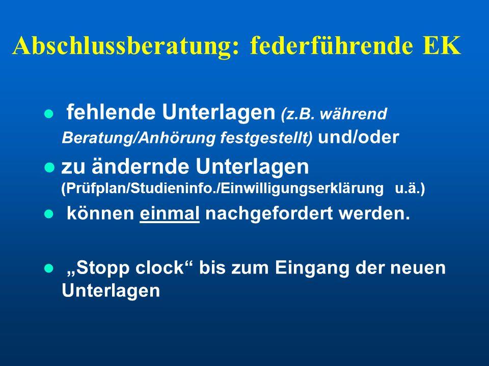 Abschlussberatung: federführende EK