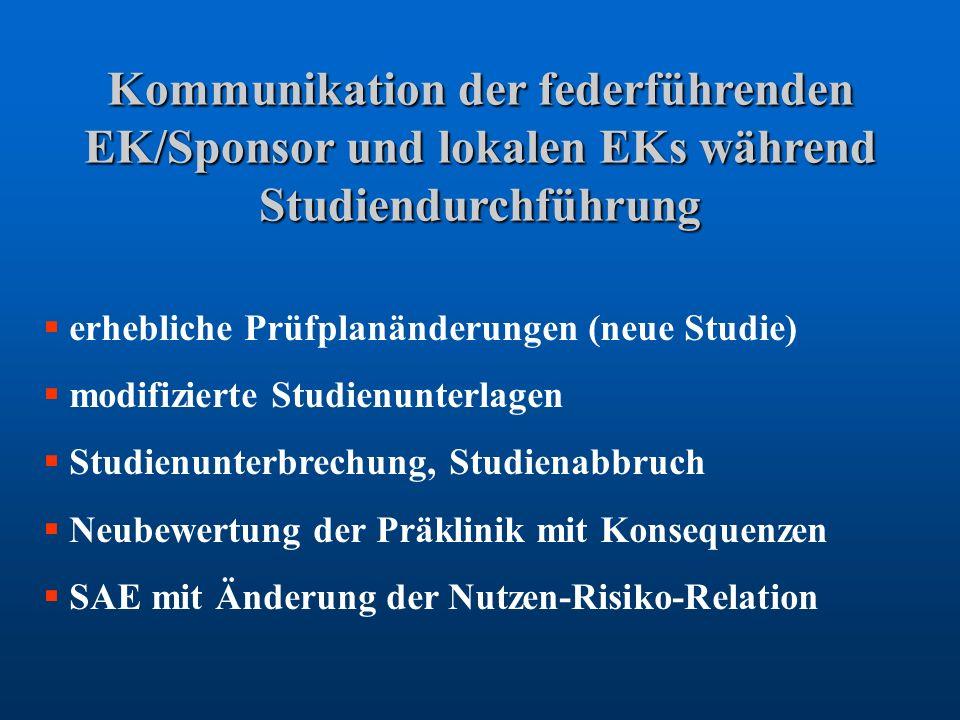 Kommunikation der federführenden EK/Sponsor und lokalen EKs während Studiendurchführung