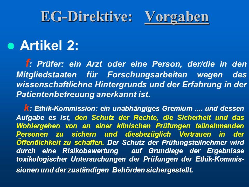 EG-Direktive: Vorgaben
