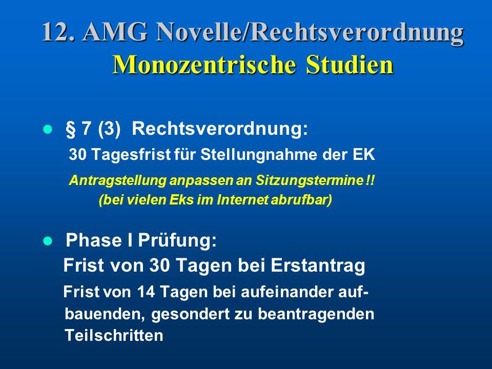 12. AMG Novelle/Rechtsverordnung Monozentrische Studien