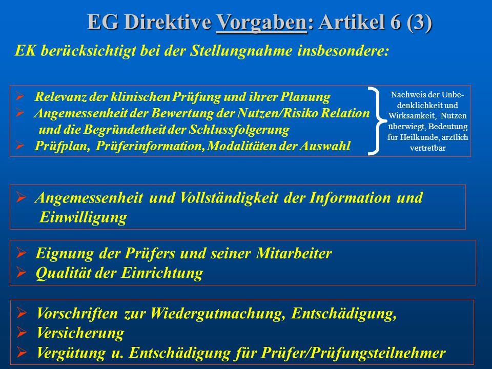 EG Direktive Vorgaben: Artikel 6 (3)