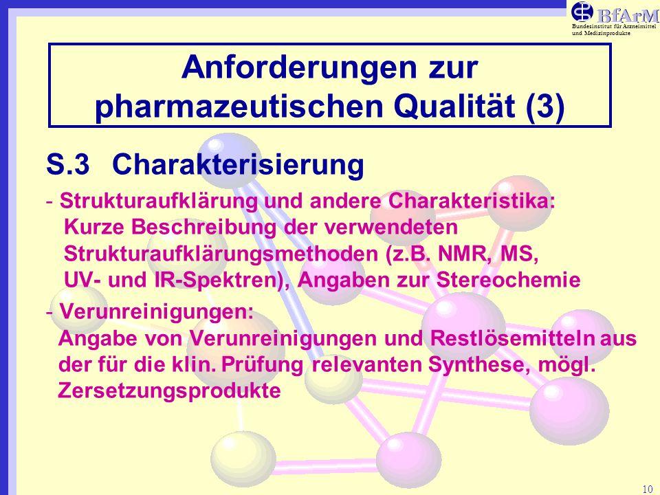 Anforderungen zur pharmazeutischen Qualität (3)