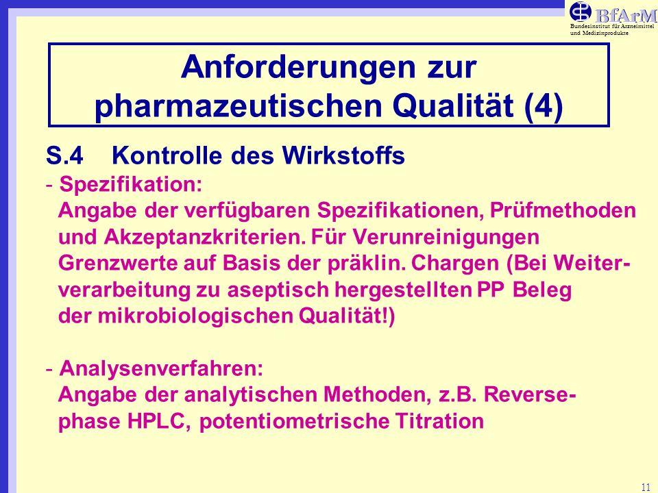 Anforderungen zur pharmazeutischen Qualität (4)