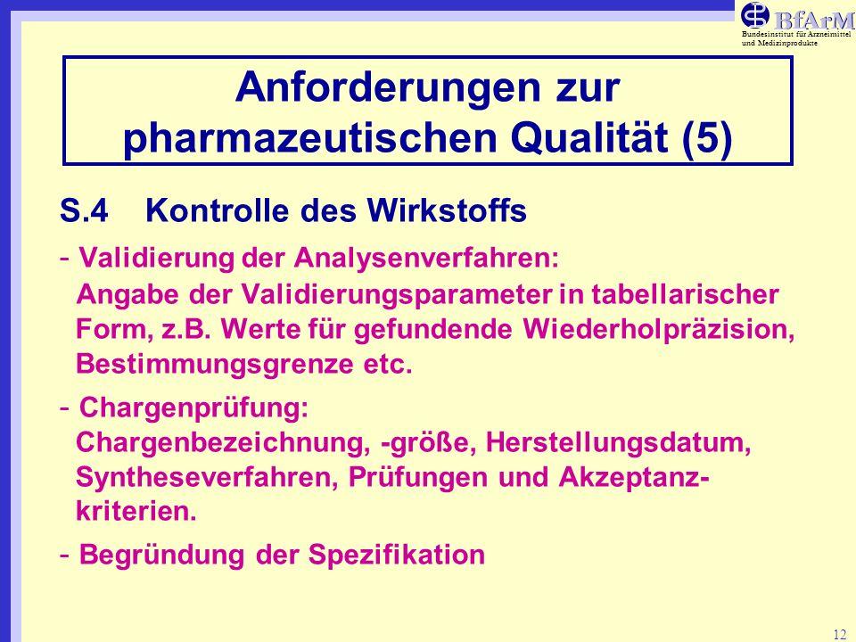 Anforderungen zur pharmazeutischen Qualität (5)