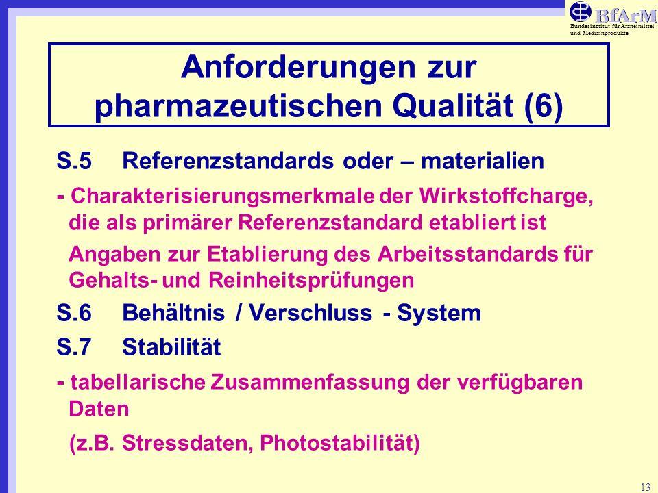 Anforderungen zur pharmazeutischen Qualität (6)