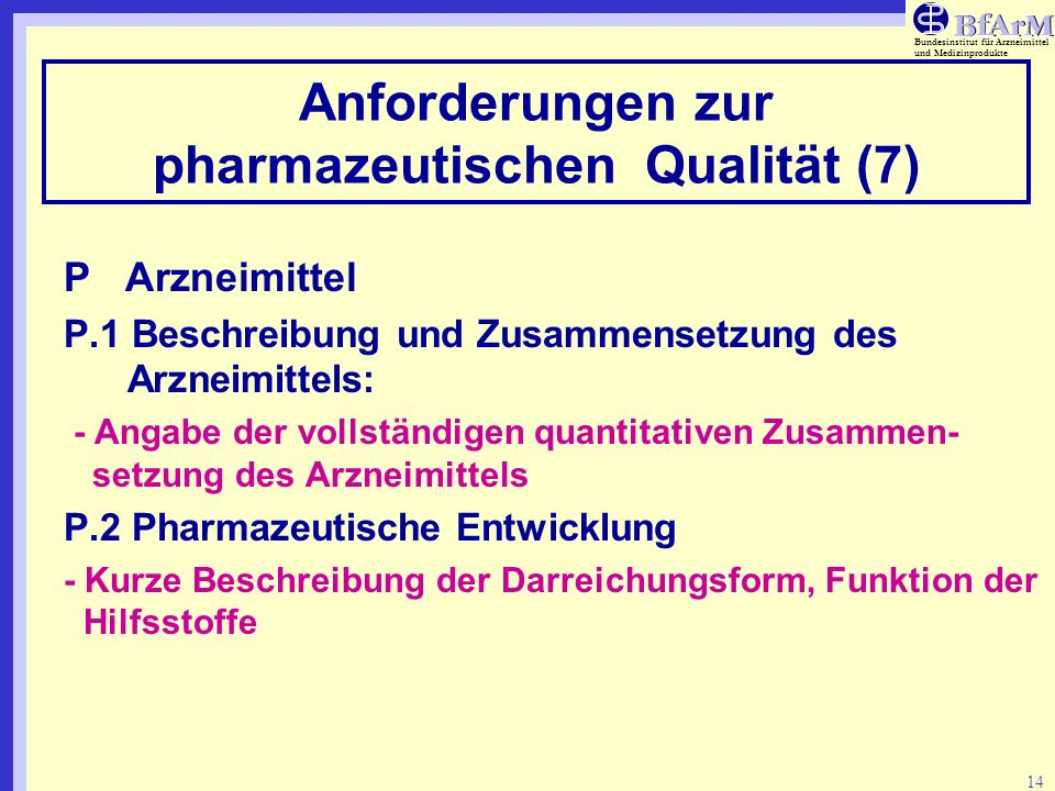 Anforderungen zur pharmazeutischen Qualität (7)