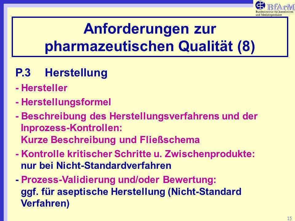 Anforderungen zur pharmazeutischen Qualität (8)
