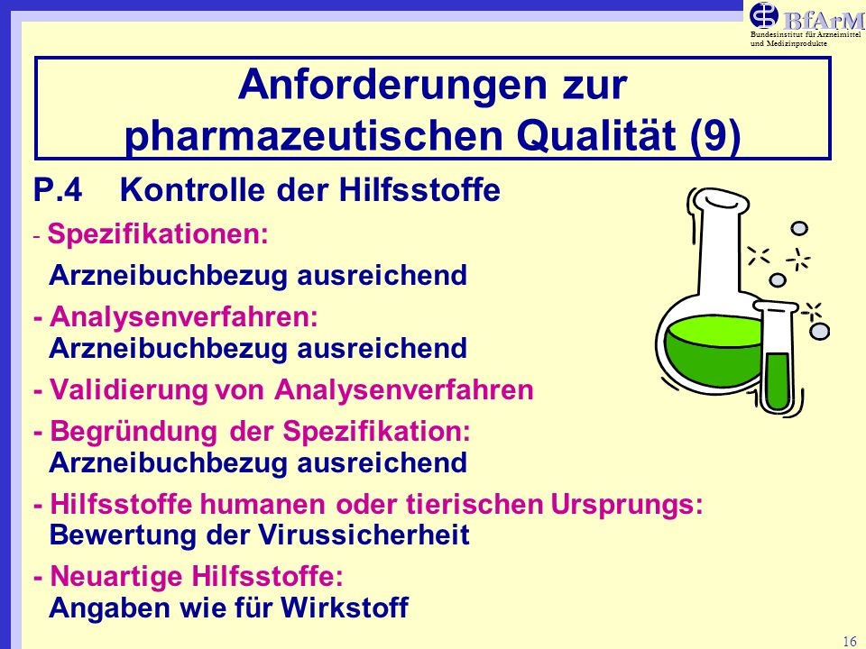 Anforderungen zur pharmazeutischen Qualität (9)