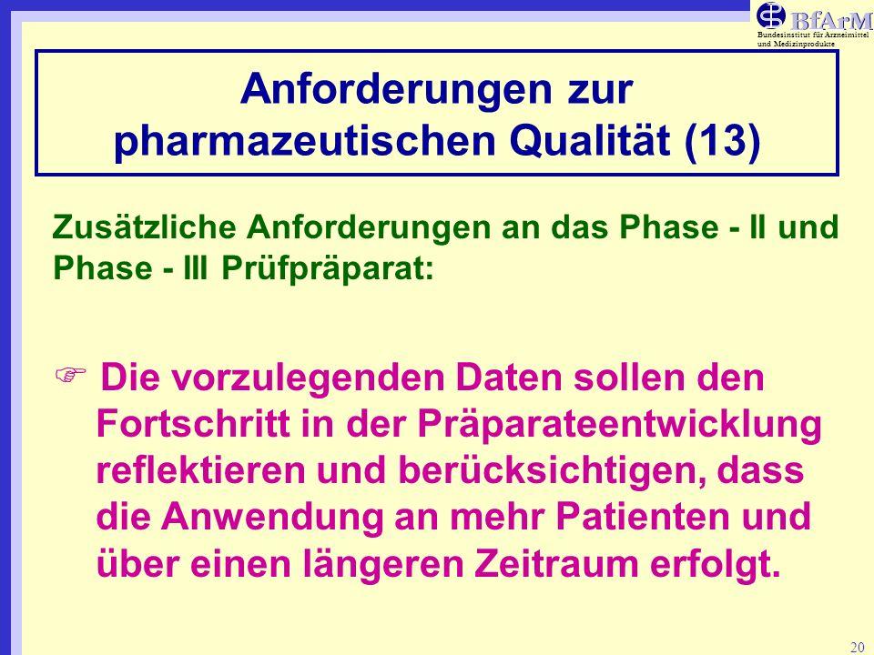 Anforderungen zur pharmazeutischen Qualität (13)