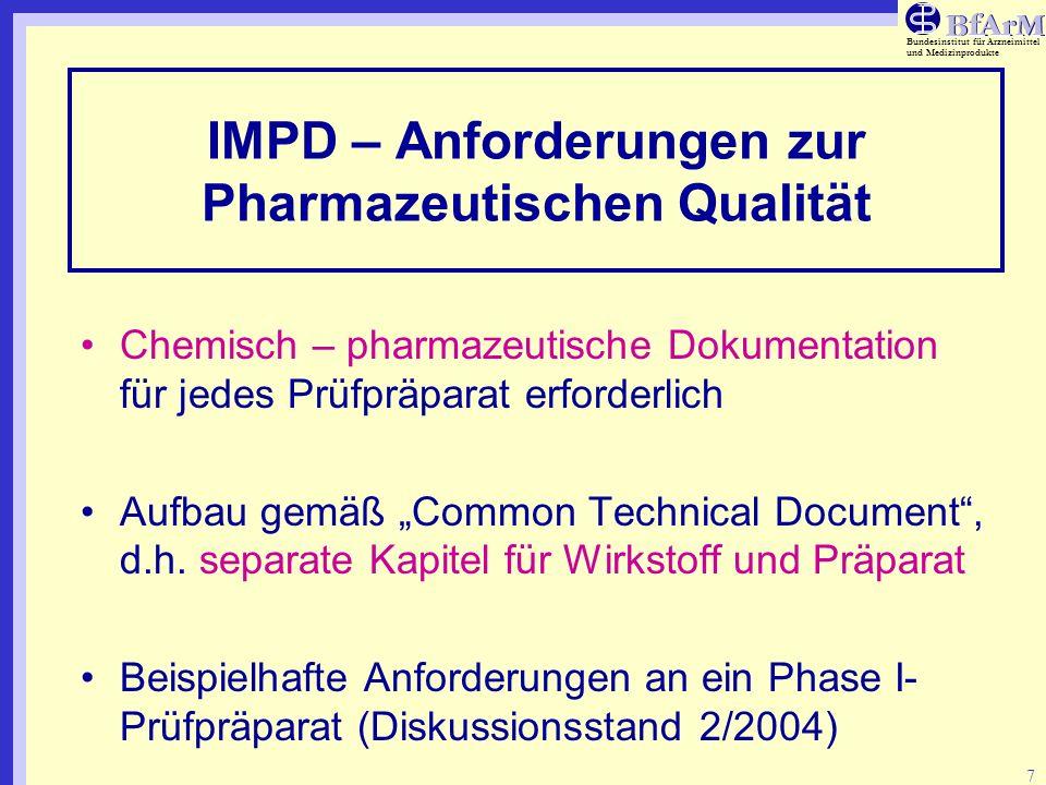 IMPD – Anforderungen zur Pharmazeutischen Qualität