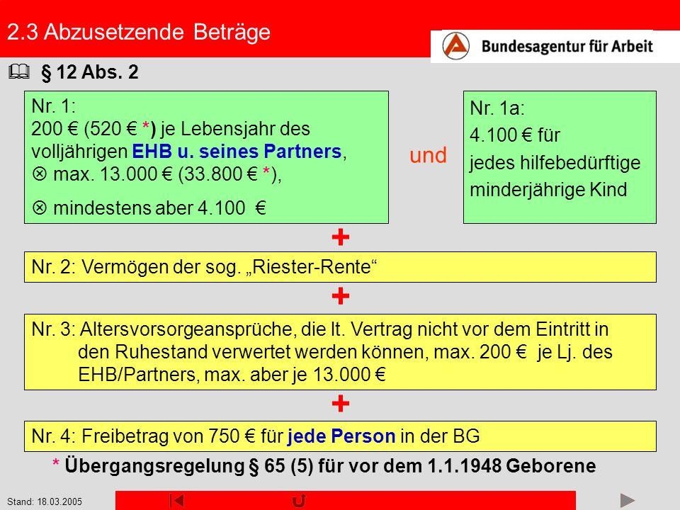 + + + 2.3 Abzusetzende Beträge und  § 12 Abs. 2