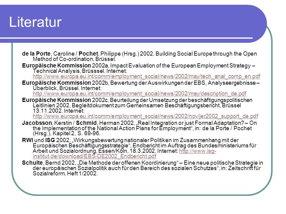 Literaturde la Porte, Caroline / Pochet, Philippe (Hrsg.) 2002, Building Social Europe through the Open Method of Co-ordination, Brüssel.