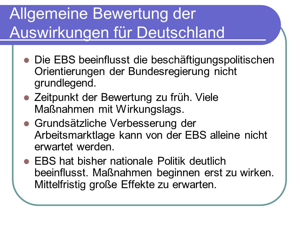Allgemeine Bewertung der Auswirkungen für Deutschland