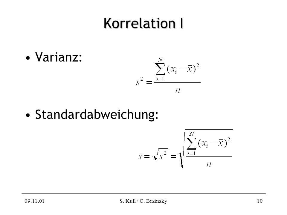 Korrelation I Varianz: Standardabweichung: 09.11.01