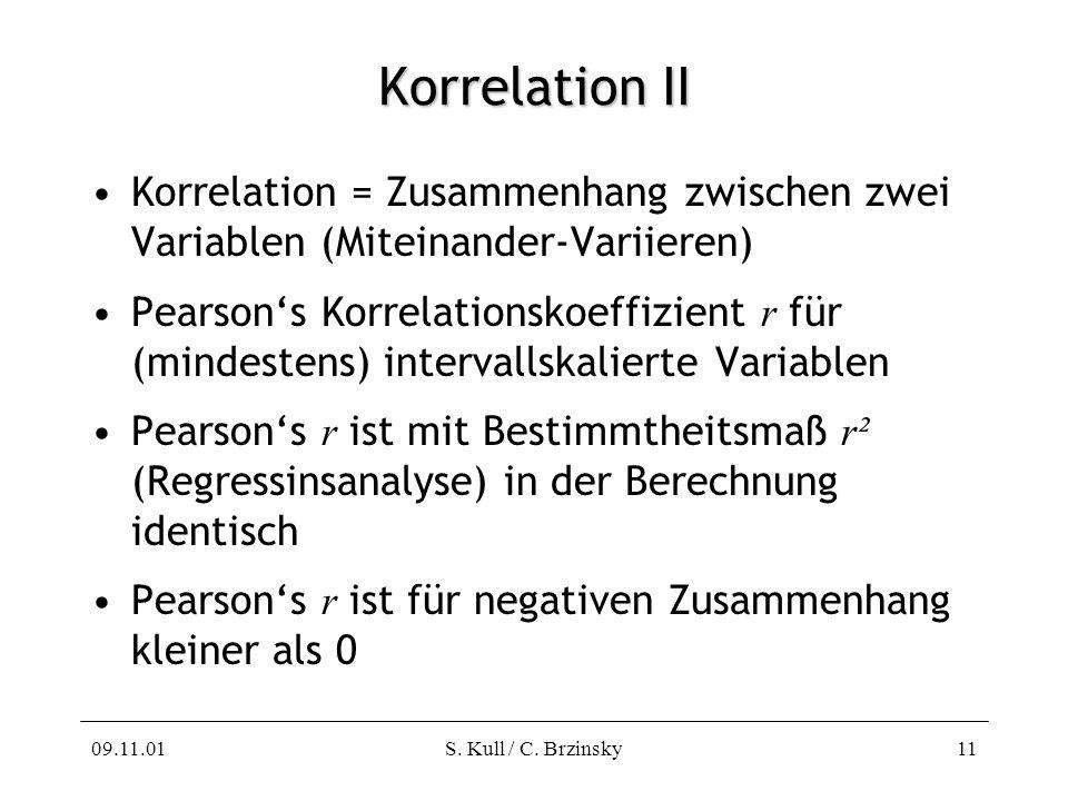 Korrelation II Korrelation = Zusammenhang zwischen zwei Variablen (Miteinander-Variieren)