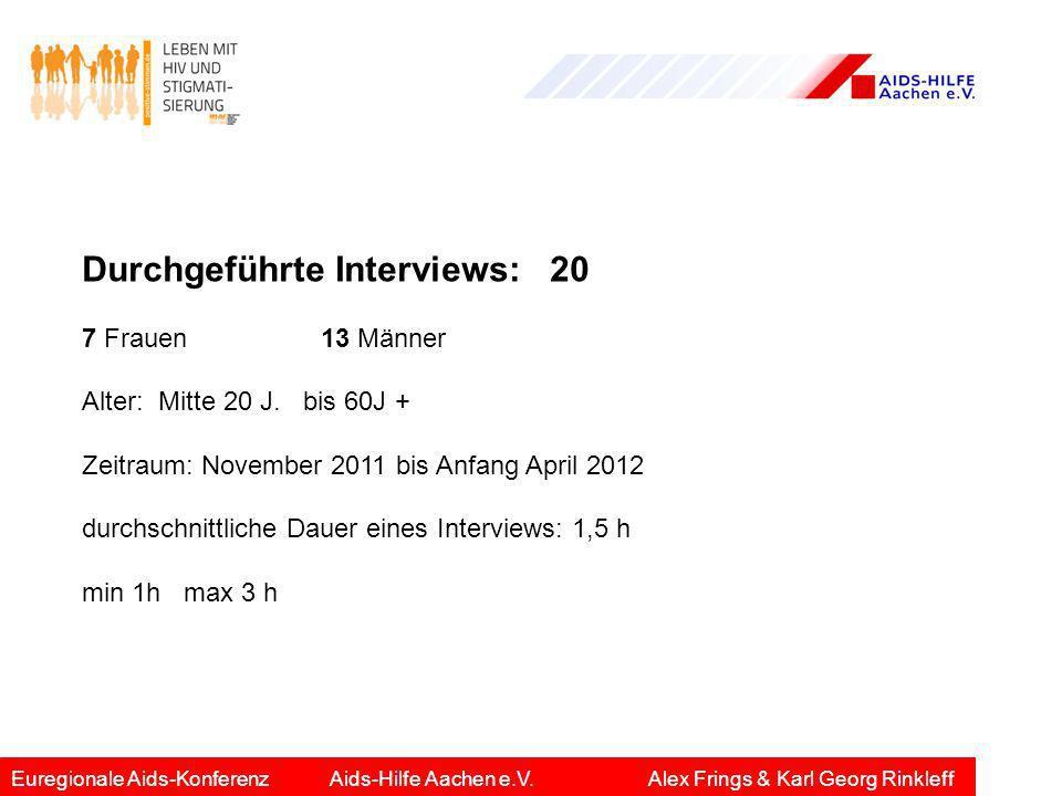 Durchgeführte Interviews: 20 7 Frauen 13 Männer Alter: Mitte 20 J