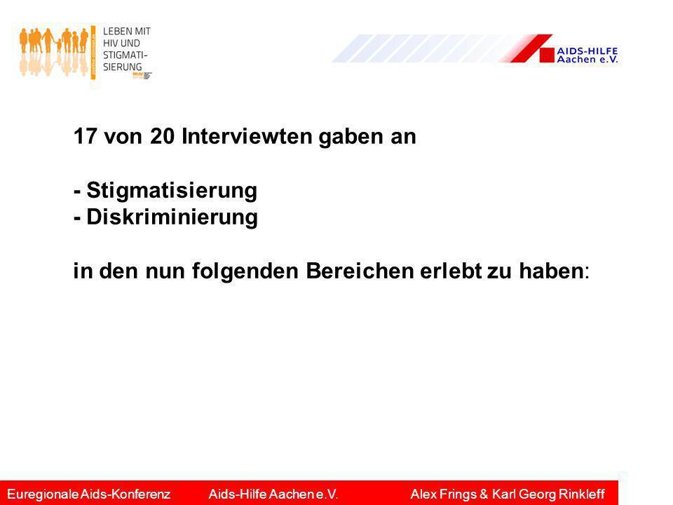 17 von 20 Interviewten gaben an - Stigmatisierung - Diskriminierung
