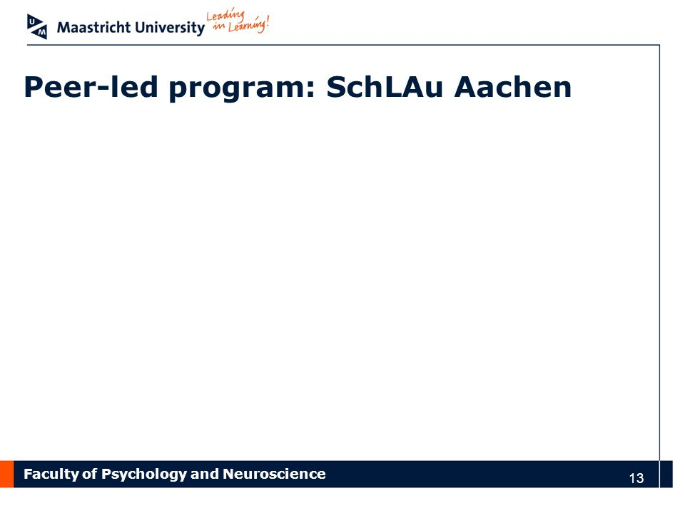 Peer-led program: SchLAu Aachen