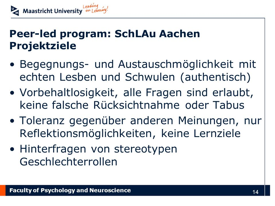 Peer-led program: SchLAu Aachen Projektziele