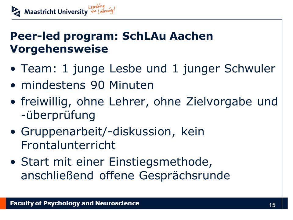 Peer-led program: SchLAu Aachen Vorgehensweise