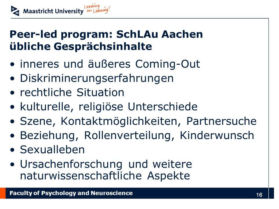 Peer-led program: SchLAu Aachen übliche Gesprächsinhalte