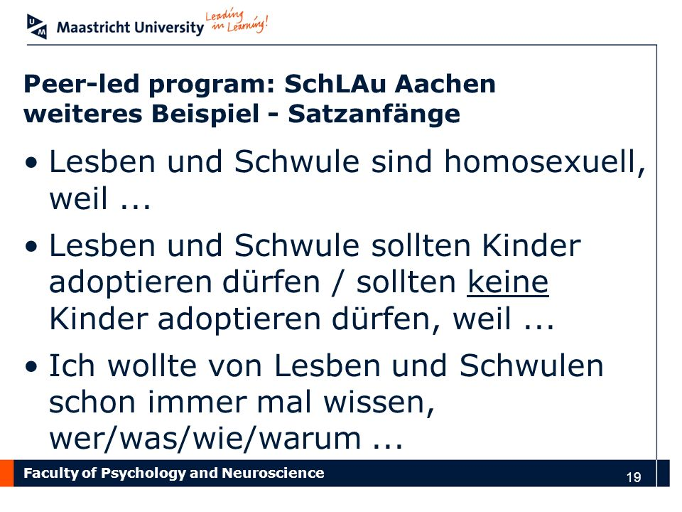 Peer-led program: SchLAu Aachen weiteres Beispiel - Satzanfänge