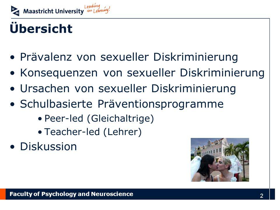 Übersicht Prävalenz von sexueller Diskriminierung