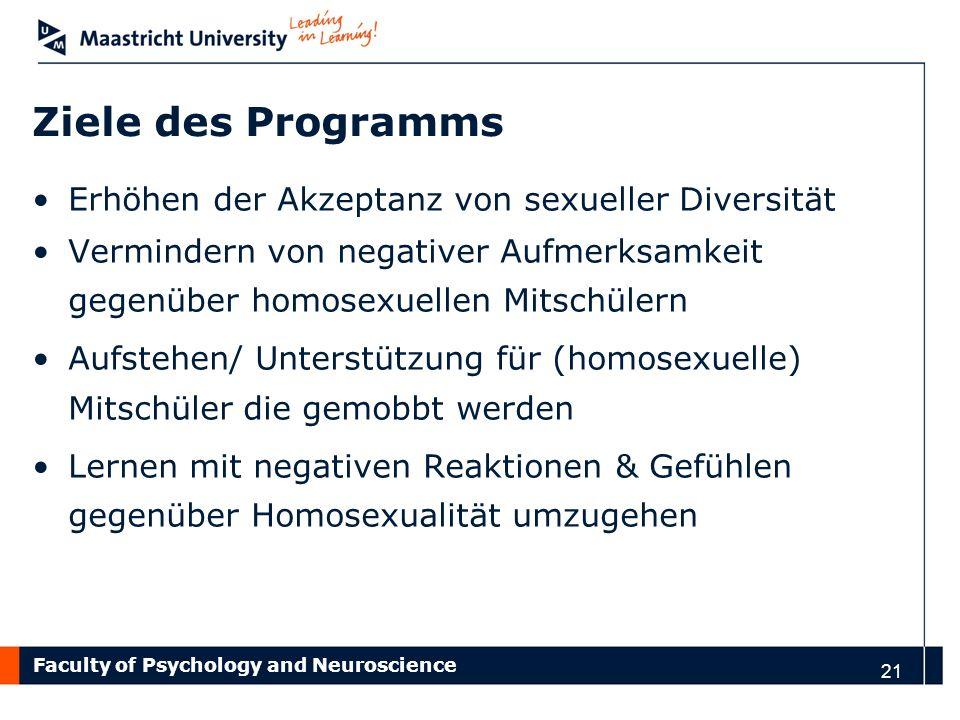 Ziele des Programms Erhöhen der Akzeptanz von sexueller Diversität