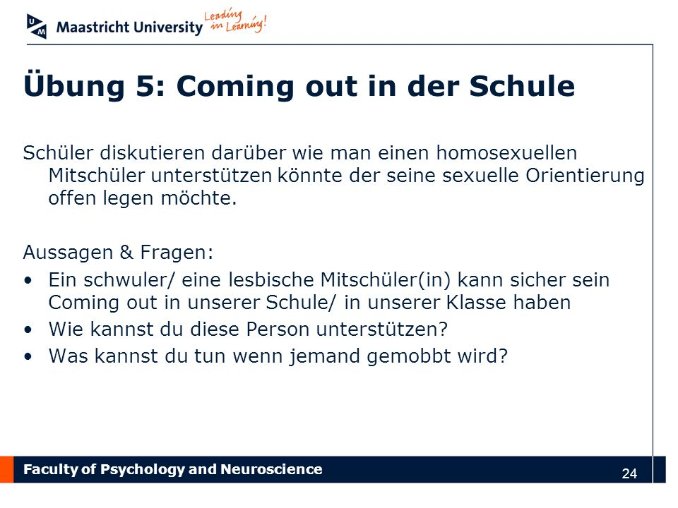 Übung 5: Coming out in der Schule