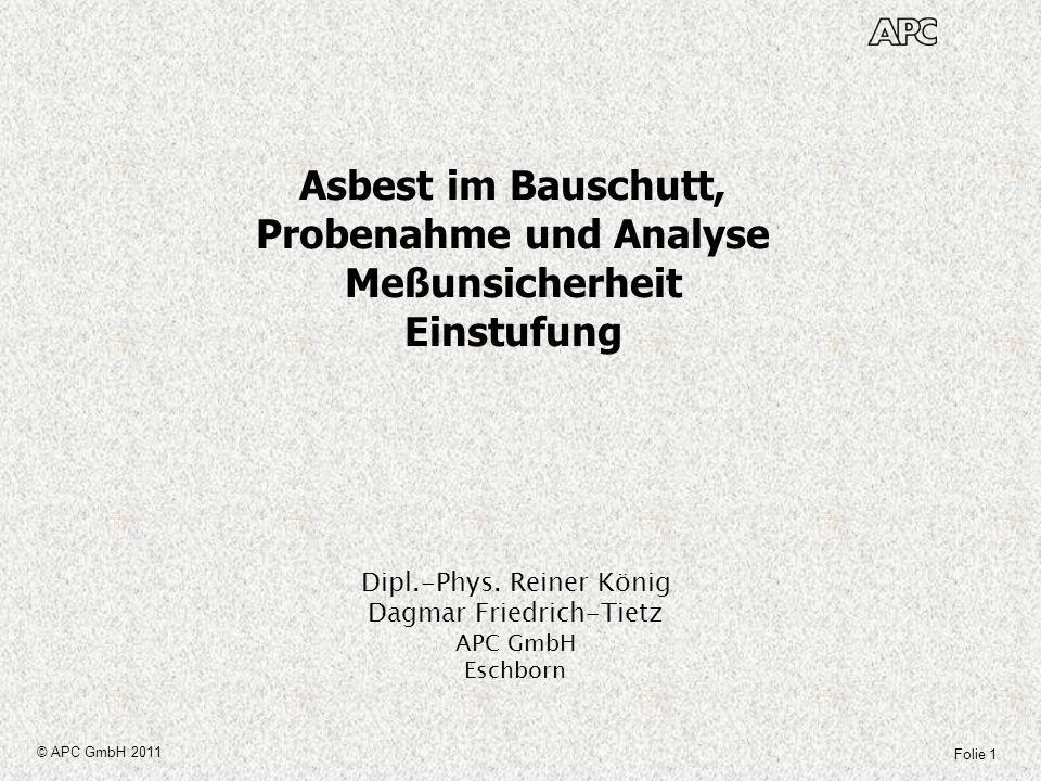 Asbest im Bauschutt, Probenahme und Analyse Meßunsicherheit Einstufung