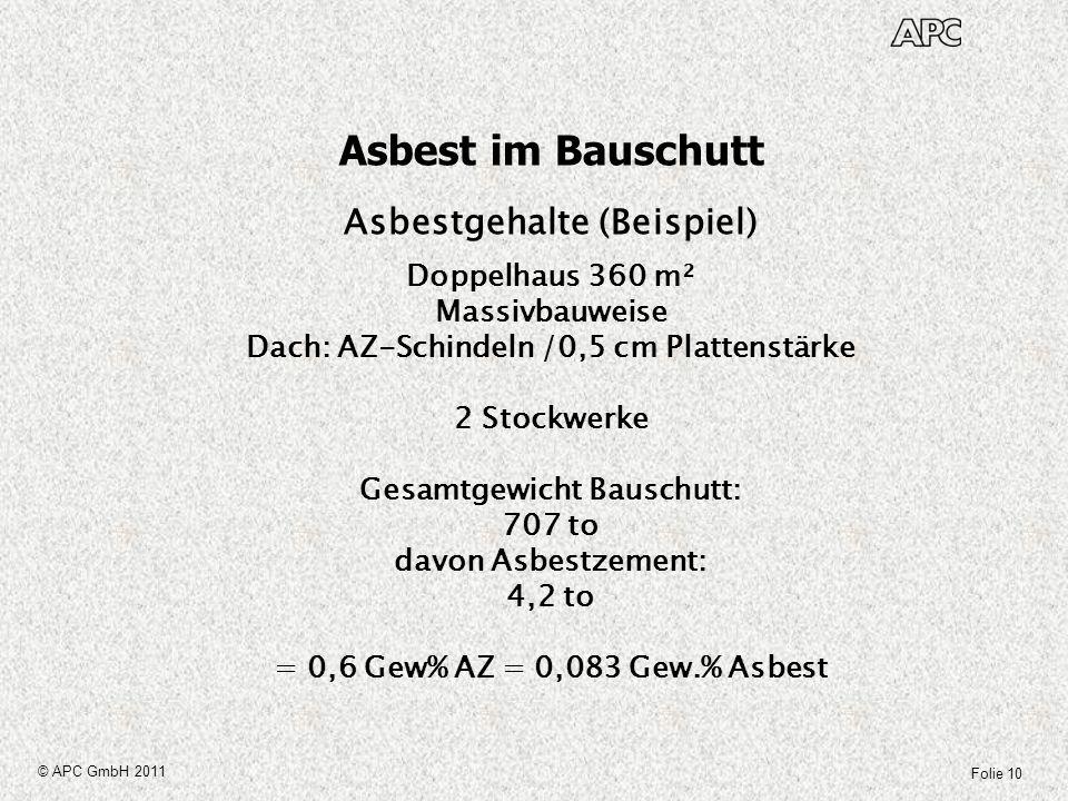 Asbest im Bauschutt Asbestgehalte (Beispiel) Doppelhaus 360 m²