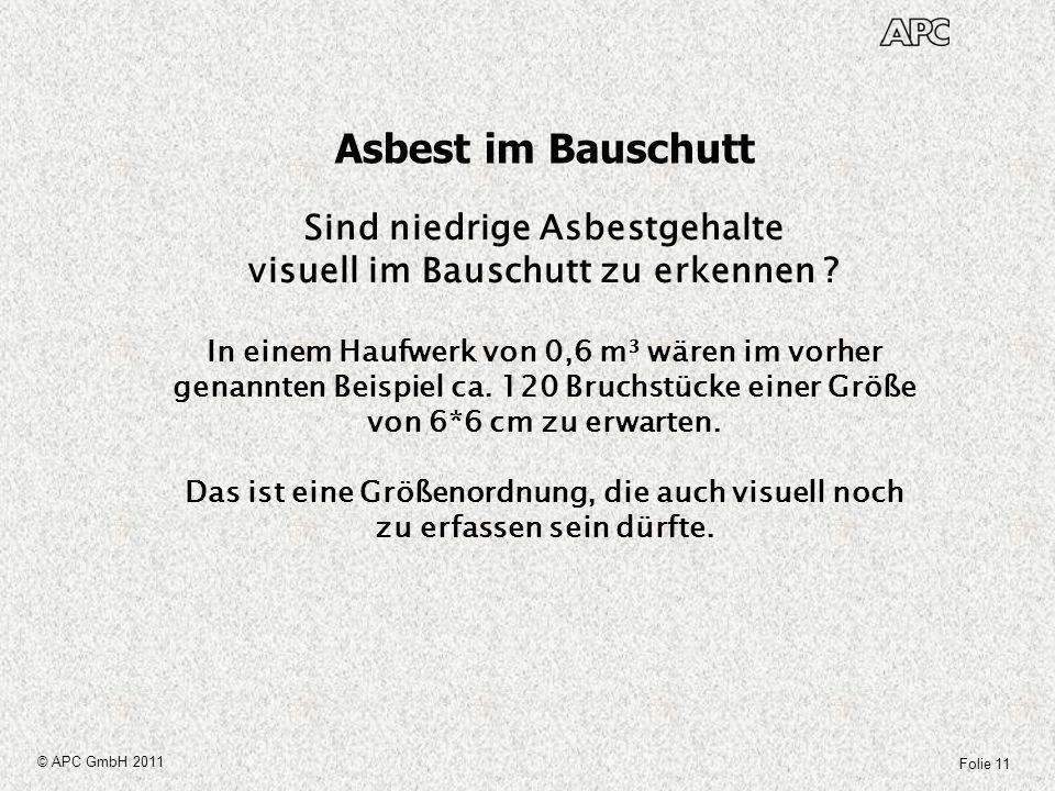 Sind niedrige Asbestgehalte visuell im Bauschutt zu erkennen